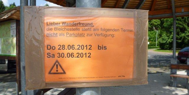 Harzer Hexenstieg Hinweisschild Parkverbot