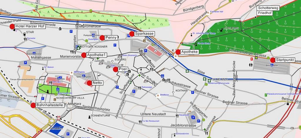 Stadtplan Osterode am Harz - POI für den Harzer Hexenstieg